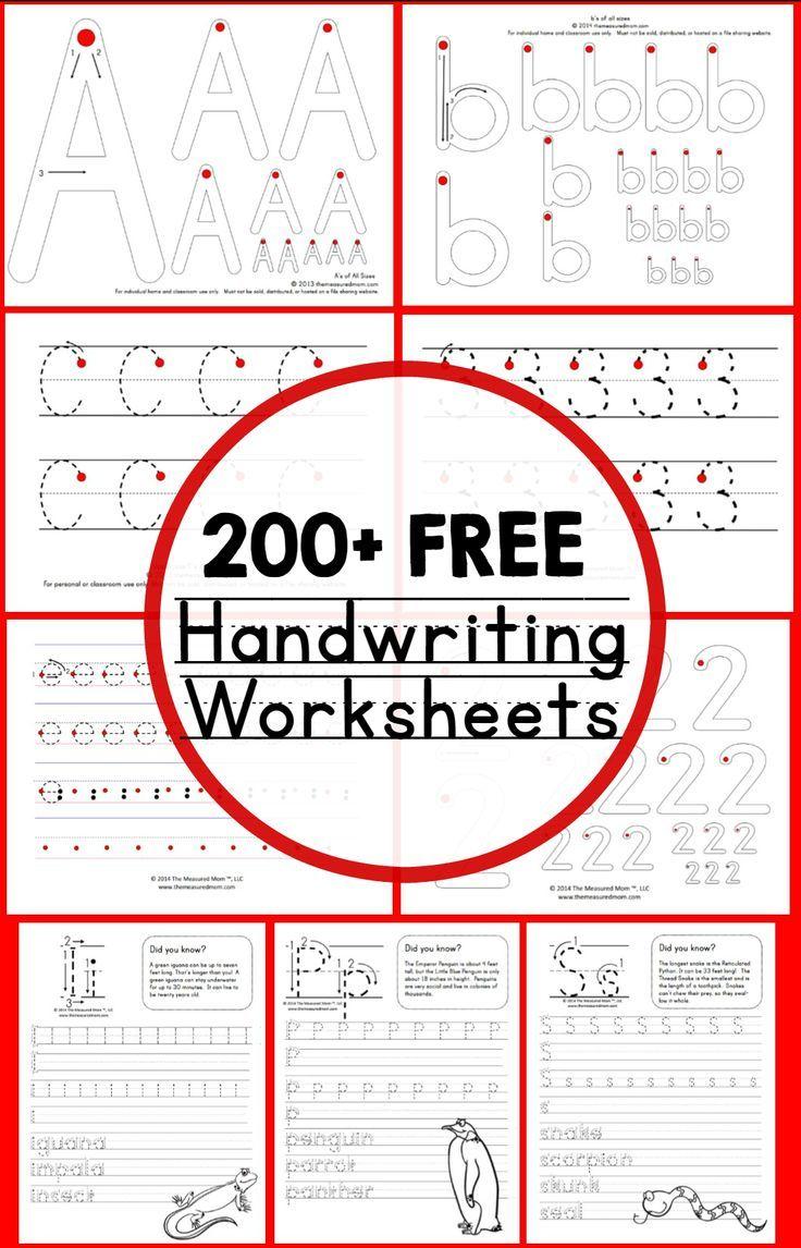 Worksheets Kindergarten Handwriting Worksheets Free teaching handwriting free worksheets 200 worksheets