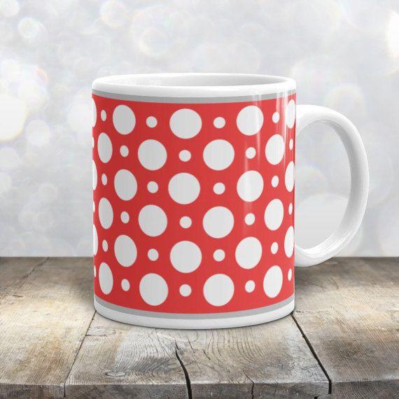 Red Polka Dot Mug - Stylish White Red Polka Dot Pattern - 11oz or ...
