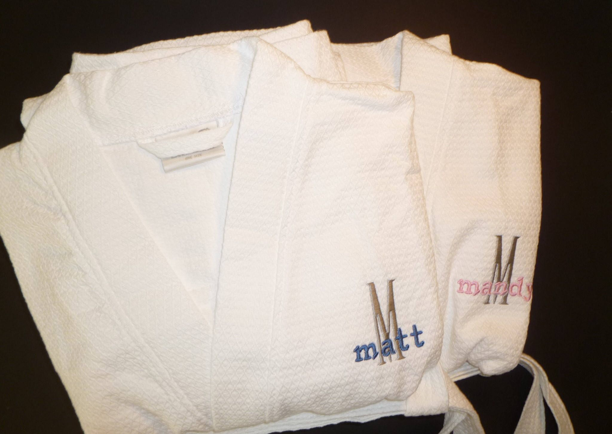ee9c574c85 2 Personalized Robes Custom Couples Spa Gift Mr and Mrs Gift Bridal Shower  Gift Cotton Monogrammed Embroidered Robe Black Robe White Robe by ...
