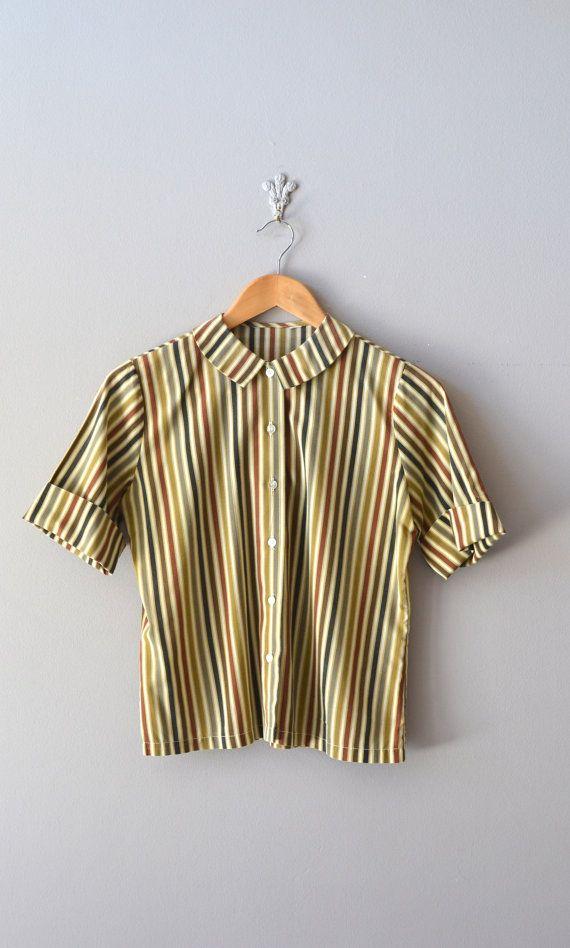 cc16a4aad2a0c9 vintage 1950 blouse / peter pan collar top / Tea Stripe blouse Kreisel,  Tunika Blusen