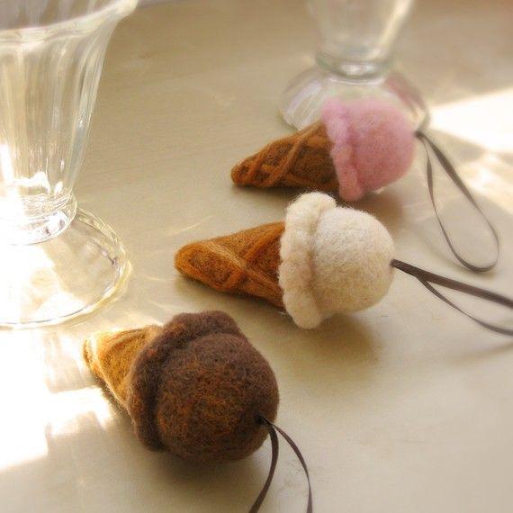 Needle Felted Strawberry Ice Cream Cone Ornament