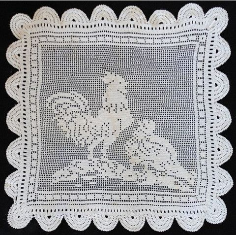 Vintage filet rooster hen crochet pattern hens crochet and patterns picture of vintage filet rooster hen crochet pattern dt1010fo
