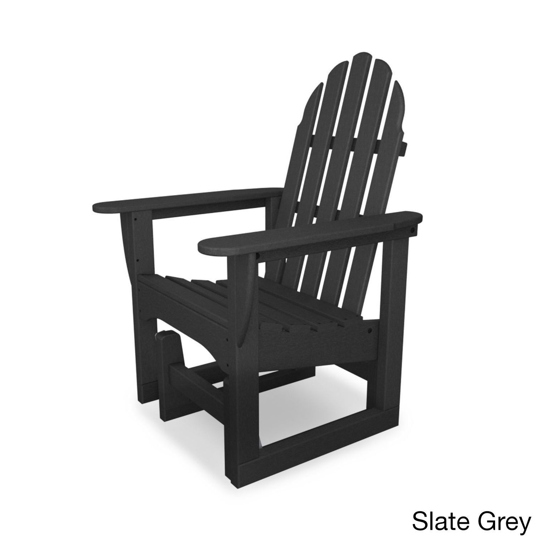 Polywood Polyethylene Clic Adirondack Glider Chair Slate Grey Patio Furniture Plastic