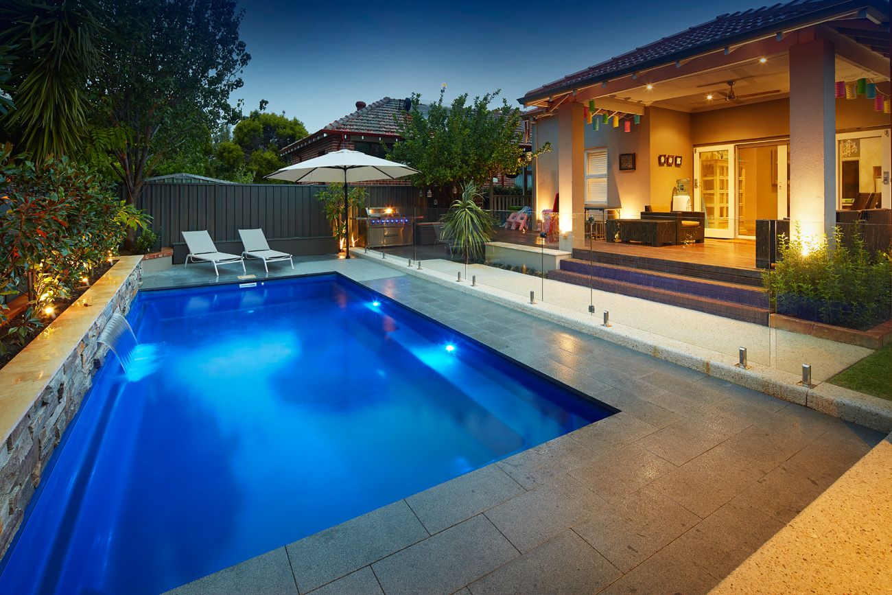 Like The Simplicity And The Planter With Added Water Feature Like The Step Down From Alfresco To Separate The Backyard Pool Designs Backyard Pool Pool Designs