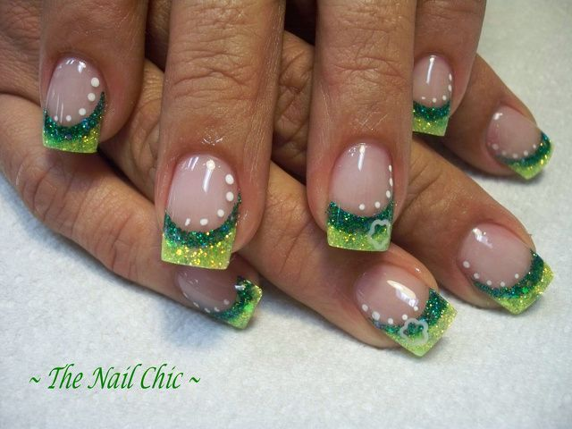Saint Patrick\'s day nail ideas ...#green french nails #spring ...