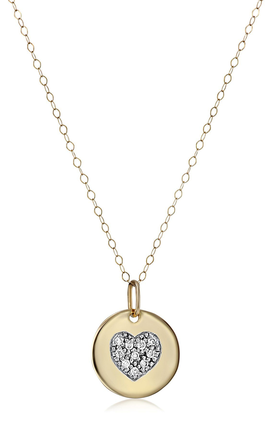 K yellow gold heart with diamond pendant necklace cttw ij