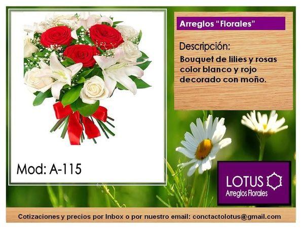 Arreglo con lilis blancas y rosas rojas