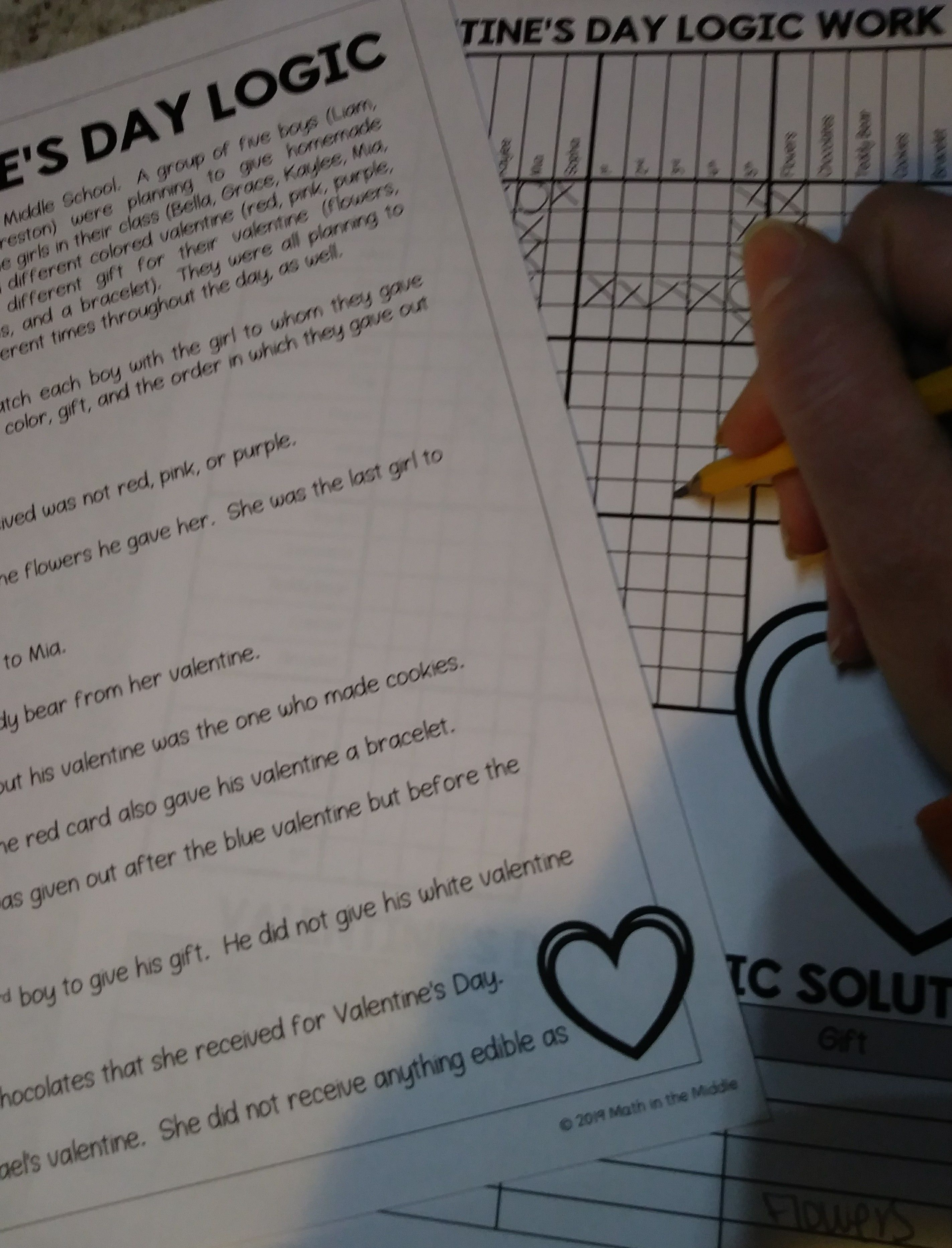 Valentine S Day Logic Puzzle For Middle School