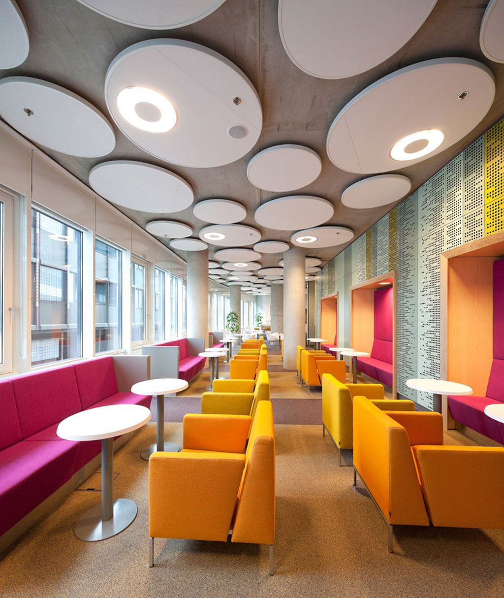 Furniture cool office sofa design ideas orange and pink cafe interior design ideas with chic seating and round dining table also decorative ceiling