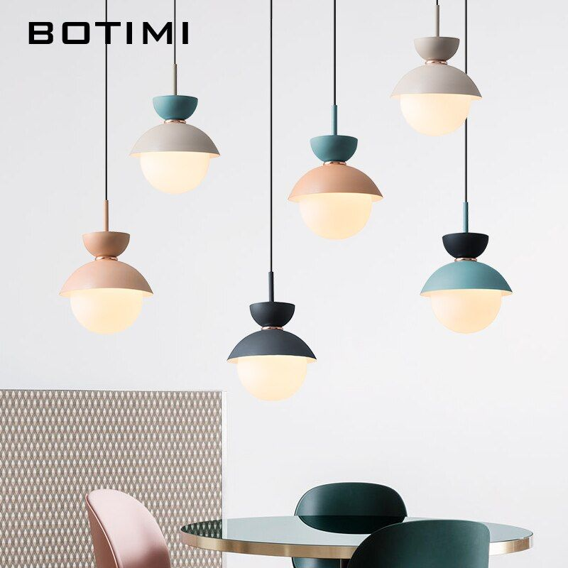 BOTIMI Modern LED Pendant Lights With Glass Lampsh