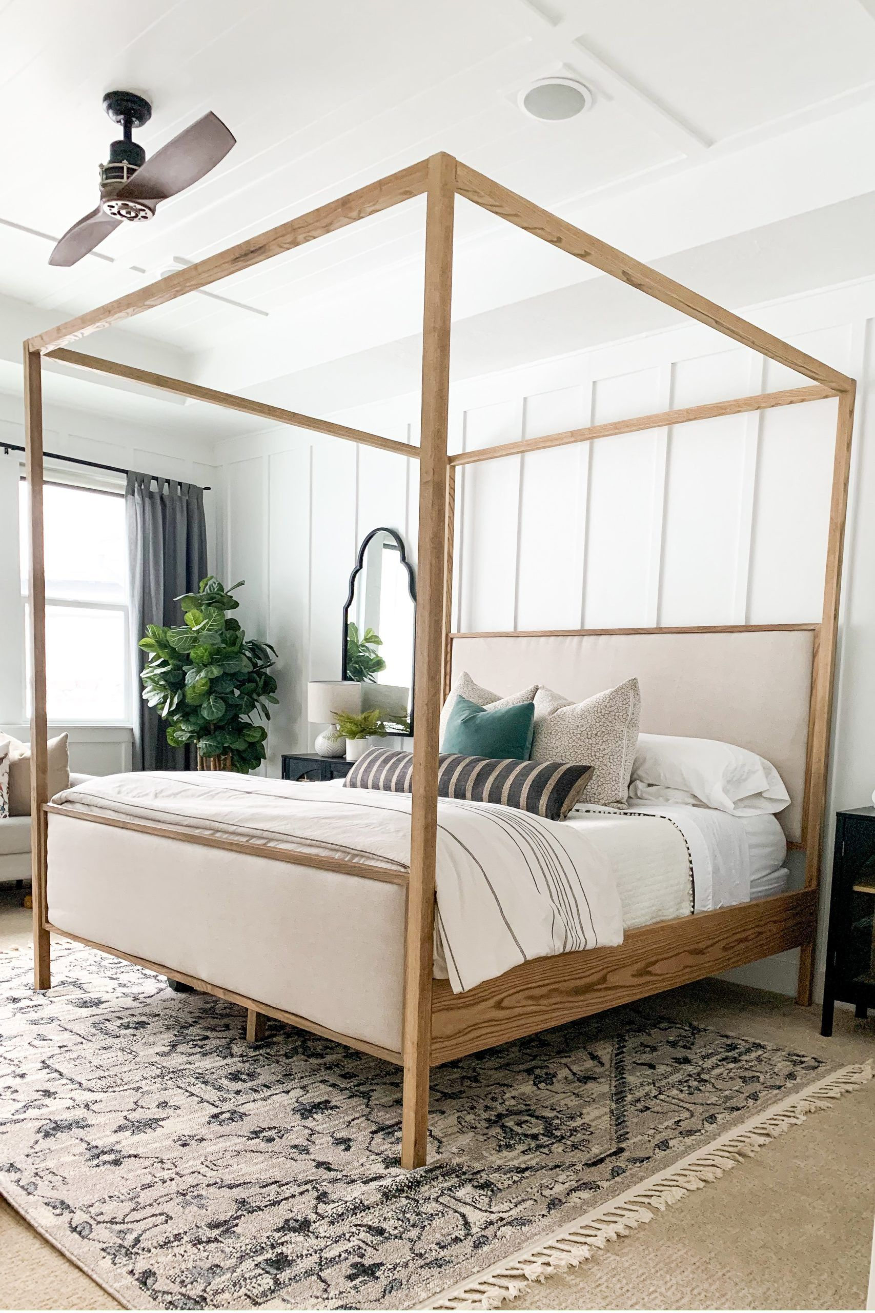 Diy upholstered canopy king bed pb dupe in 2020 farm