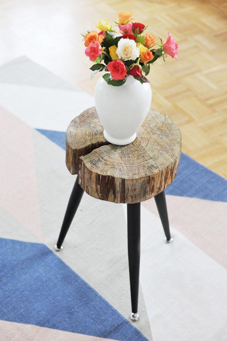 Mobel Selbst Machen Beistelltisch Aus Holzscheibe Bauen Bonny Und Kleid Holzscheiben Beistelltisch Diy Beistelltisch