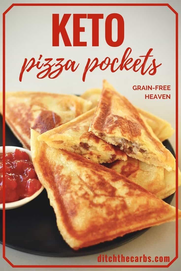 Easy Keto Pizza Pockets - with KETO mozzarella dough - low carb heaven #ketorecipes