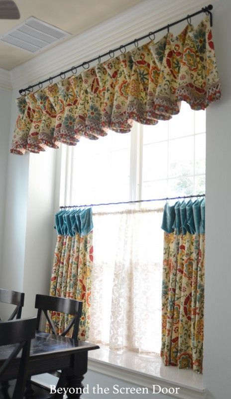 kitchen cafe curtain and valance beyond the screen door - Kitchen Cafe Curtains