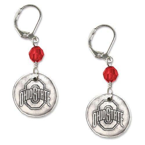 Ohio State University White Copper Earrings