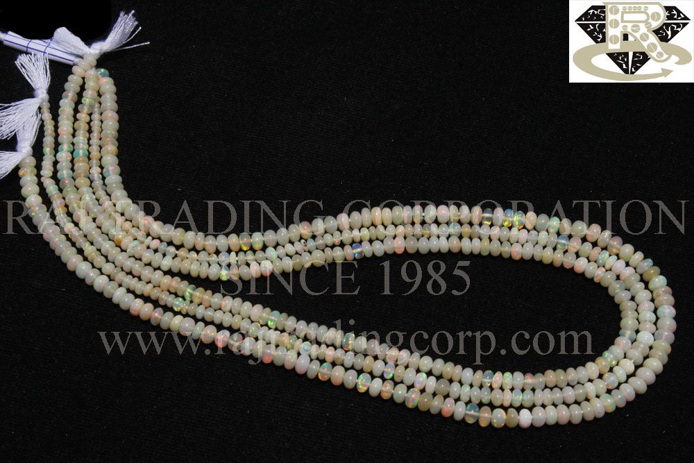 Ethiopian Opal Smooth Roundel (Quality AA) Shape: Roundel Smooth Length: 36 cm Weight Approx: 4 to 6 Grms. Size Approx: 3.5 to 4.5 mm Price $56.00 Each Strand