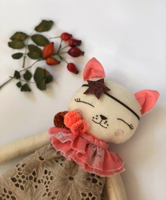 Linen kitty Cat rag doll Heirloom doll Stuffed animals Fabric doll ...