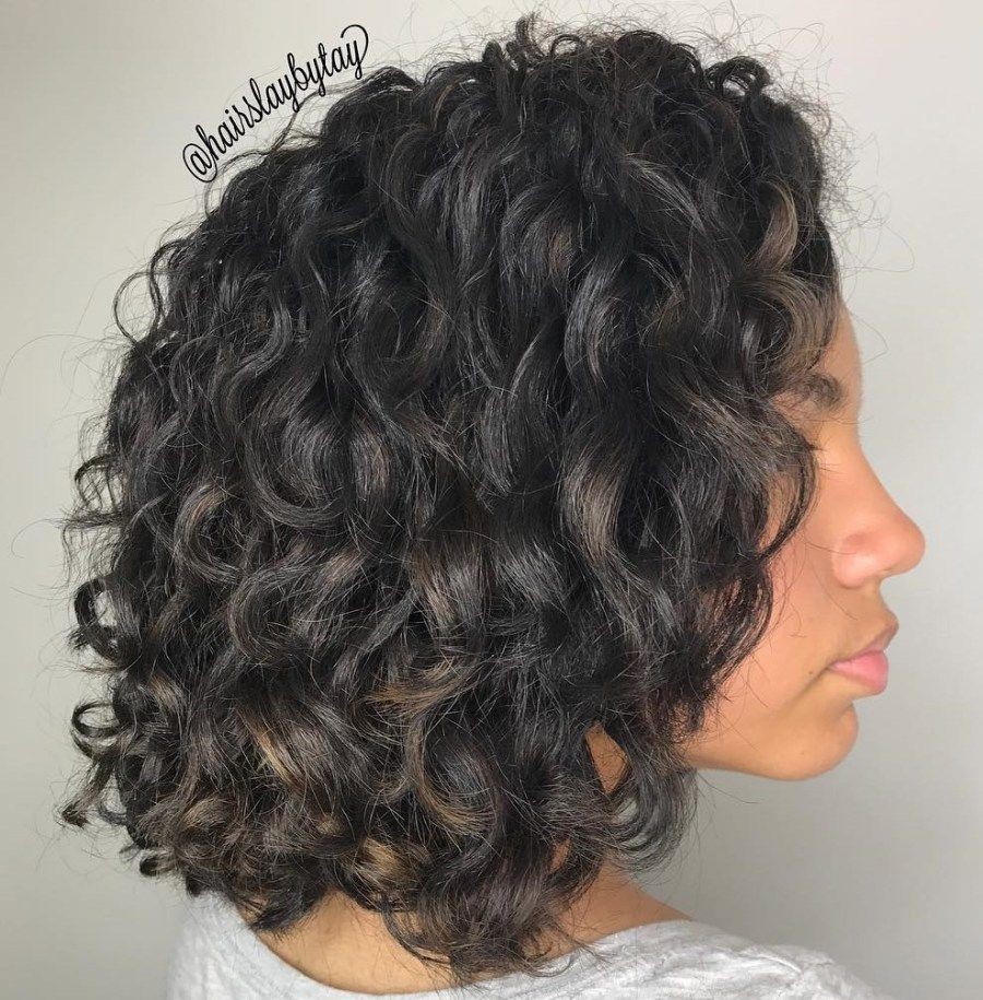 Black curly shoulder length hairstyle curly hair styles