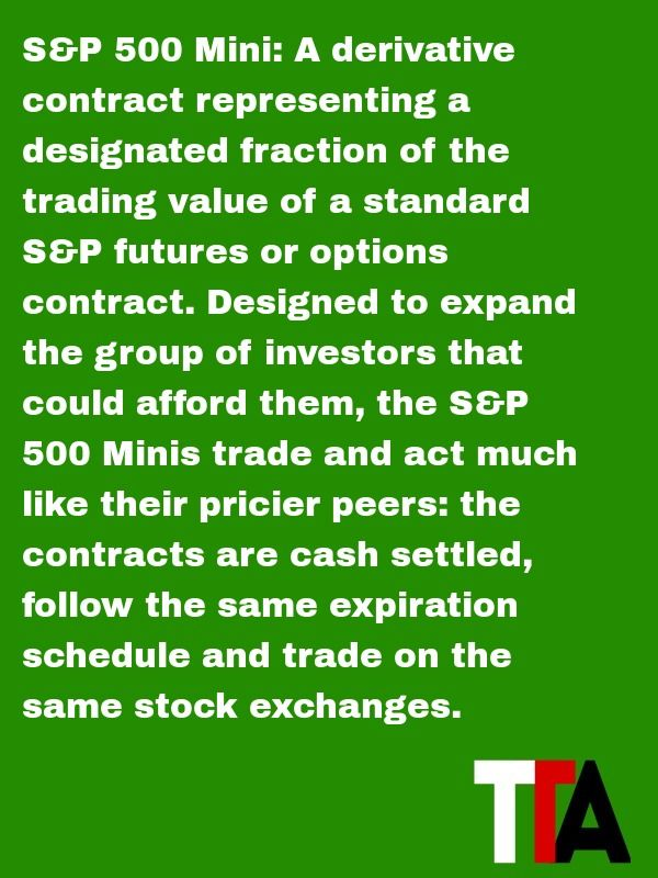 Futures Trading Term Of The Day S P 500 Mini A Derivative