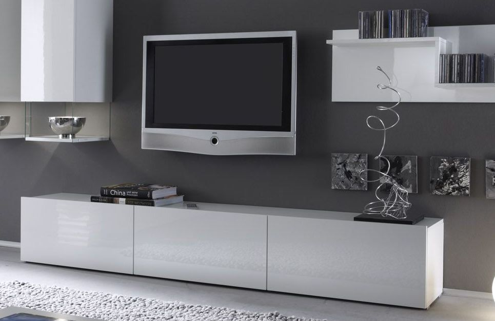 Meuble tv design laqu blanc madere 207 meubles t l for Meuble bas long salon