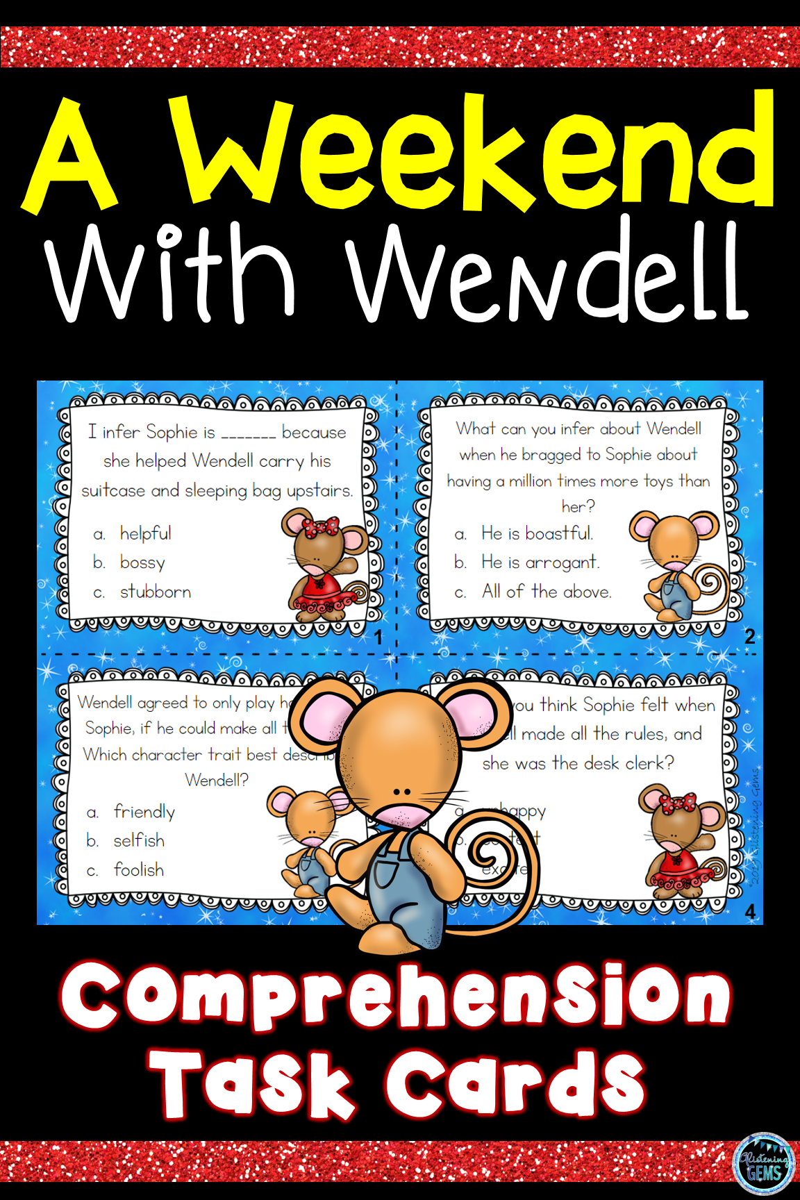 A Weekend With Wendell Character Traits Task Cards With