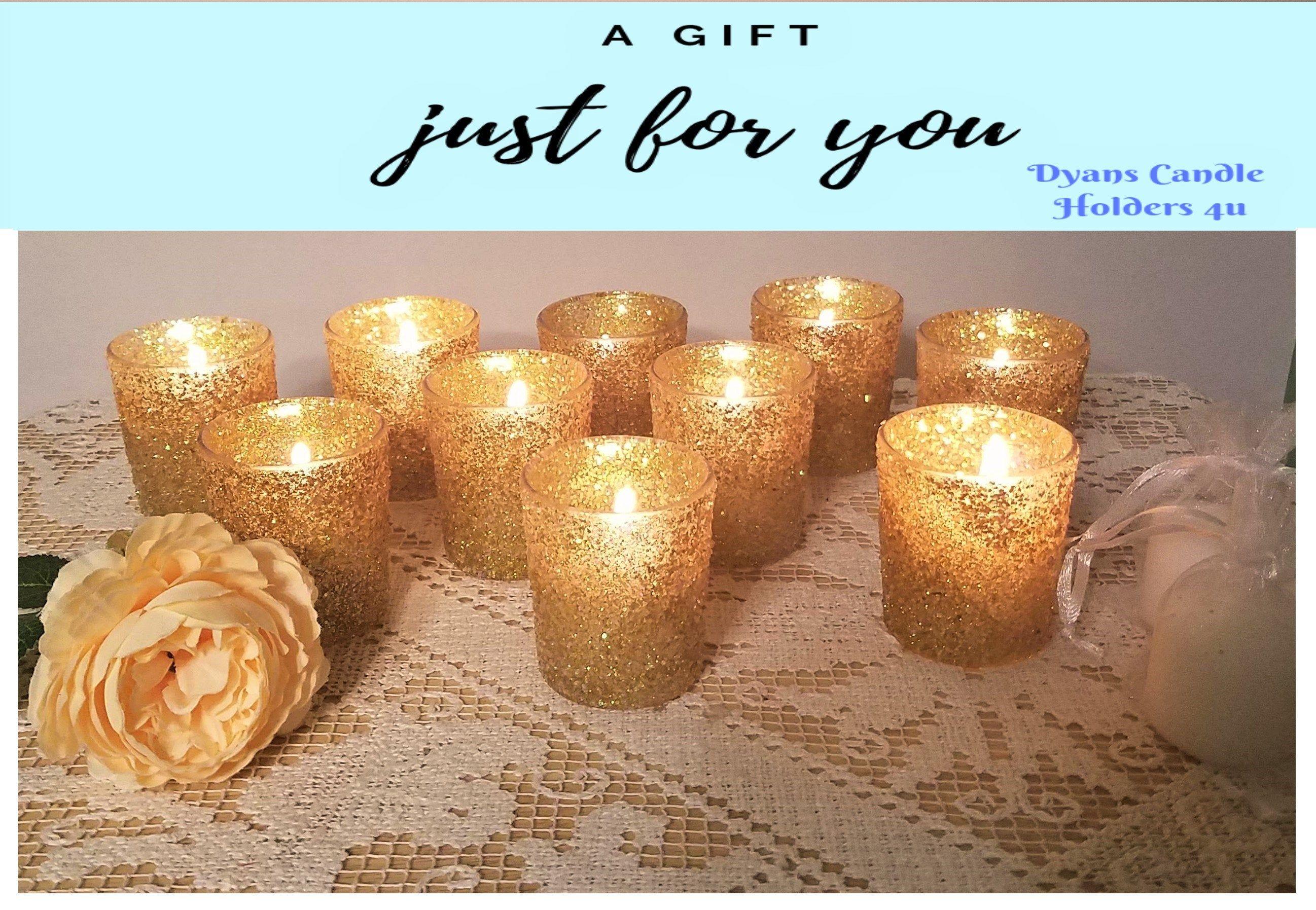 Candle wedding favor gold glass votive candle holder
