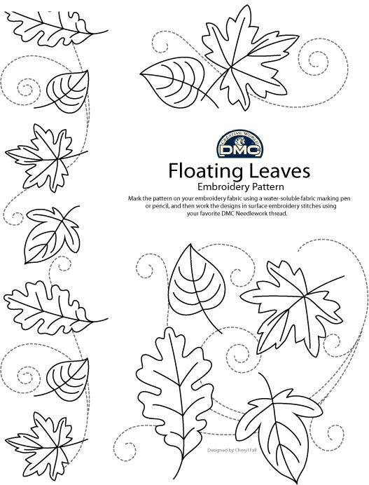 Floating Autumn Leaves Pattern For Hand Embroidery Dmc Threads