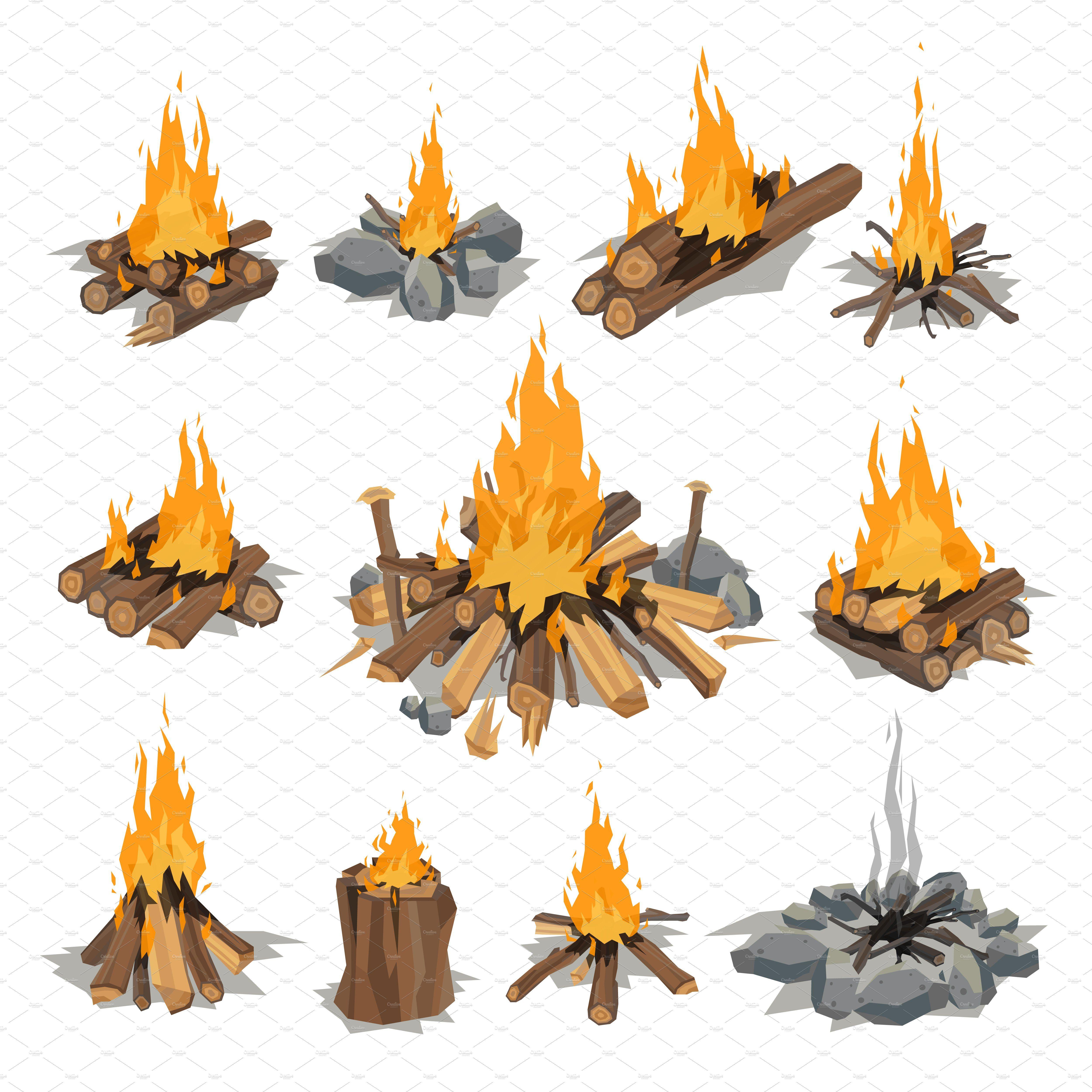 Vector Campfires Log Burning Bonfire Fire Painting Campfire Drawing Flame Art