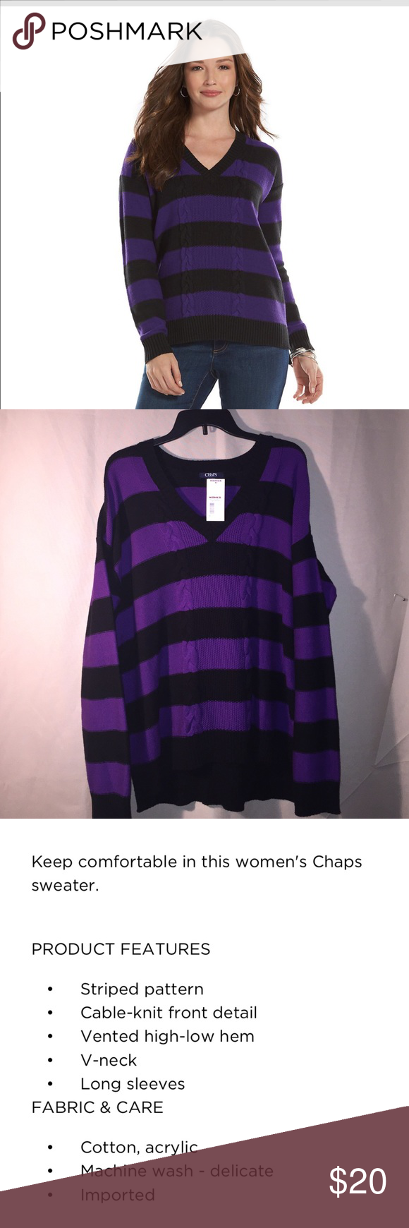 Women's Striped Black/Purple V-Neck Sweater-XL Keep Comfortable in ...