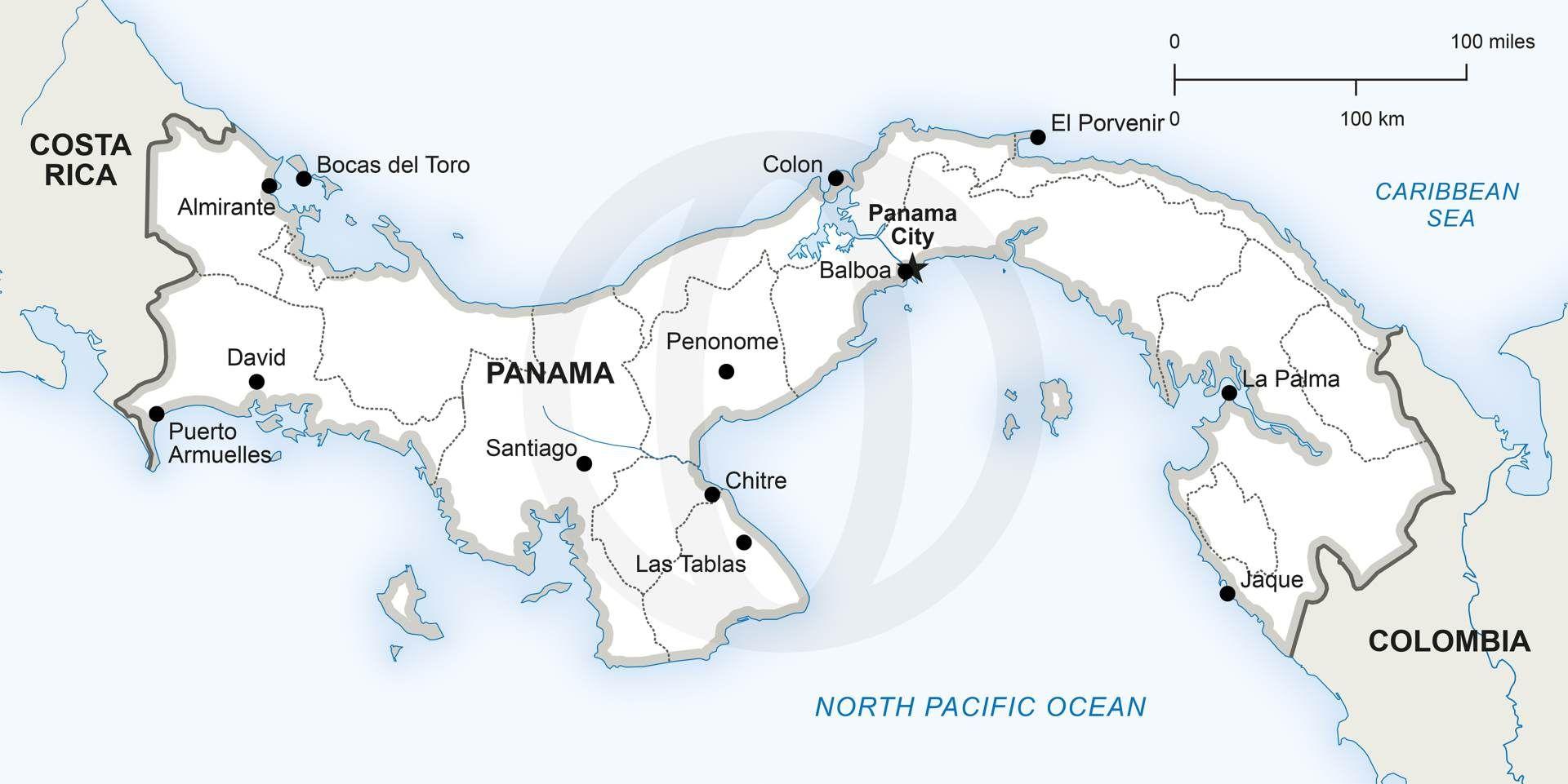 Vector Map Of Panama Political Panama - Panama map vector