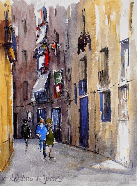 Joshemari Larrañaga. Casco antiguo de Barcelona: calle del Arco de los Judíos. Acuarela