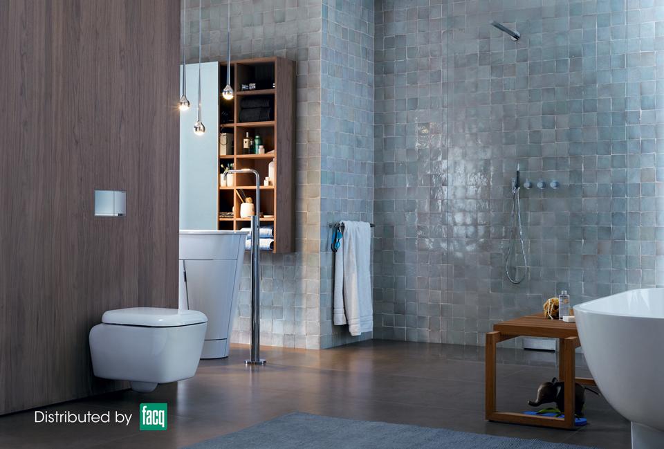 Mozaïektegels in de badkamer zorgen voor een rustige doch moderne ...