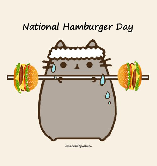 National Hamburger Day is today Pusheen, Silly cats