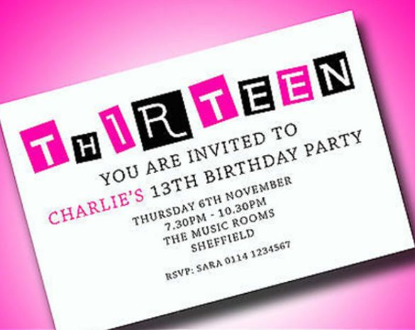 Personalised Boys Girls Teenager 13th Birthday Party Invitations – Thirteenth Birthday Invitations