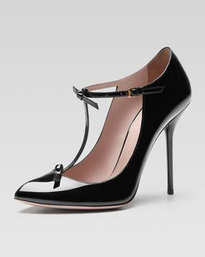 76768adf2 Gucci Patent T-Strap Pump, Black on shopstyle.com   FALL   Gucci ...