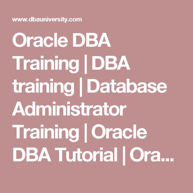 Oracle Dba Training Dba Training Database Administrator Training