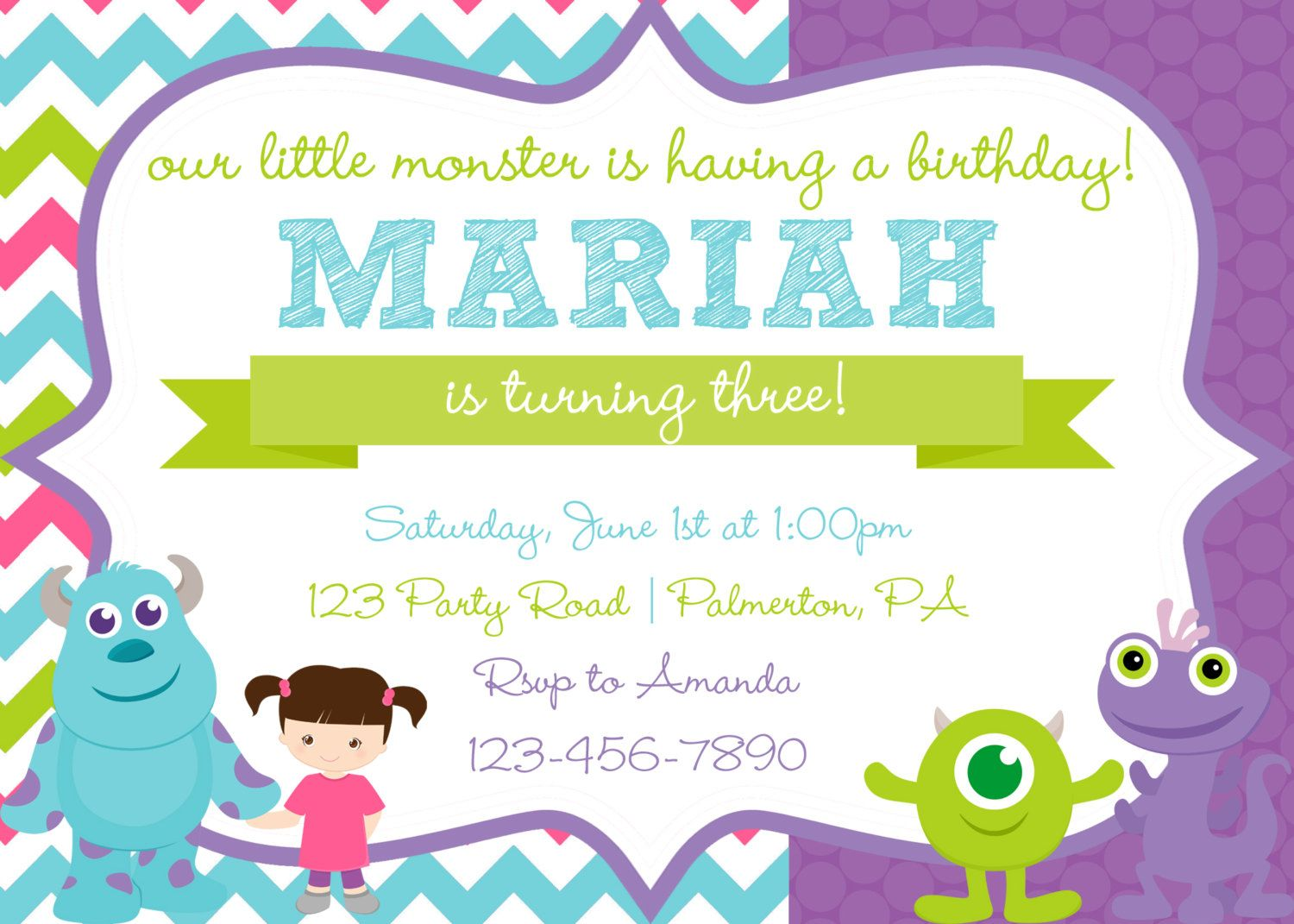 Monsters Inc Birthday Invitation by PrintedPartyBoutique on Etsy ...