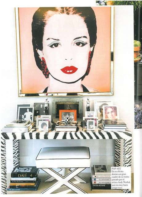 Carolina Herrera portrait by #andywarhol. Get inspired with this modern console table ! Discover more: modernconsoletables.net | #consoletable #modernconsoletable #contemporaryconsoletable