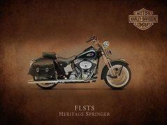 Harley Davidson Framed Prints - Harley Davidson FLSTS Framed Print by Mark Rogan