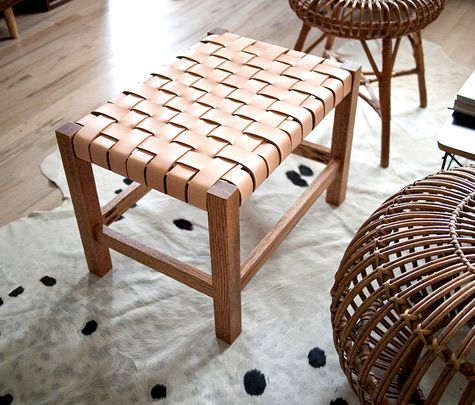 Fine Diy Woven Leather Stool So Gorgeous And Practical Diy Machost Co Dining Chair Design Ideas Machostcouk