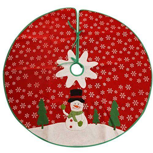 Iuhan NEW Xmas Holiday Style Red White Felt Snowflake Christmas Tree - christmas decors