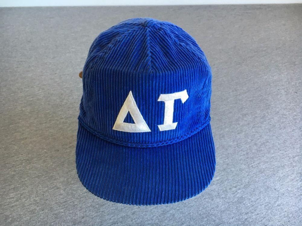 VTG DELTA GAMMA CORDUROY HAT Sorority Fraternity Greek College Sewn Baseball Cap #Crownfavorco #hat #soroity #frat #college