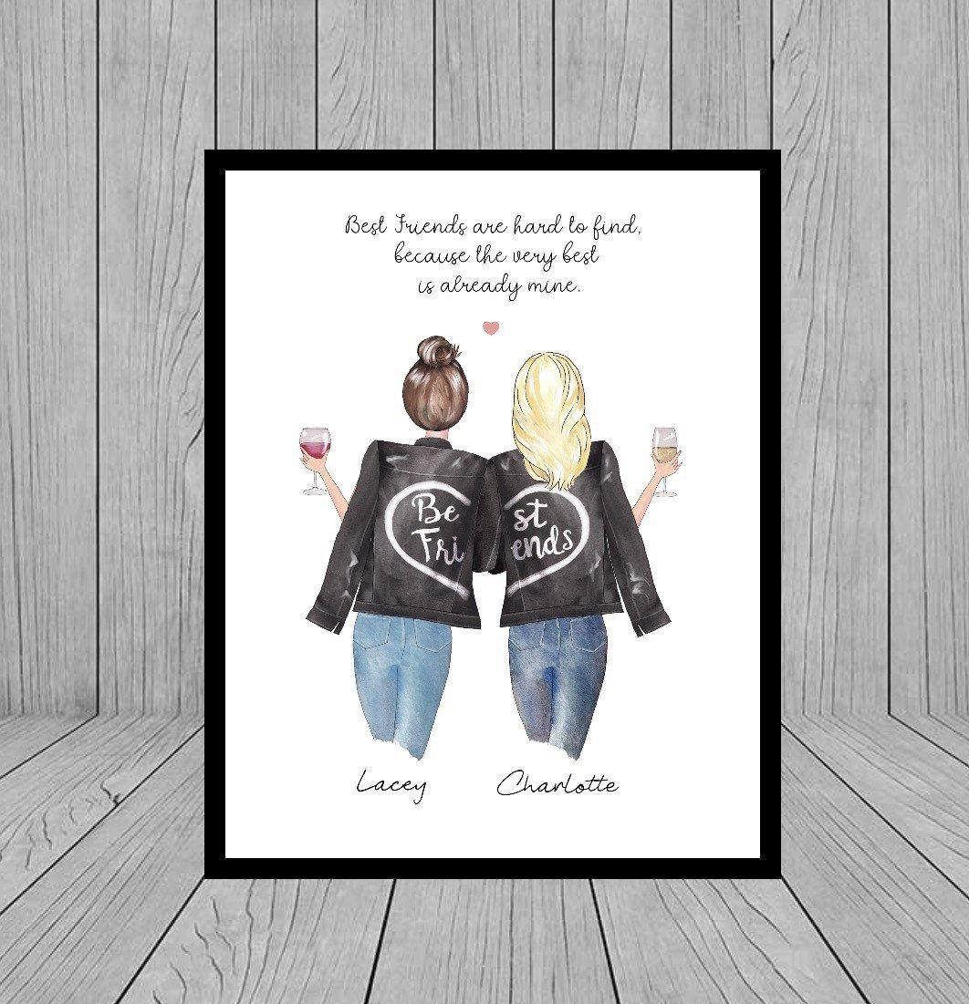 Best Friend Print Birthday Printable Gift Personalised Print Gift for Her Best Friend Gift Bestie Gifts Digital File,Friendship Print