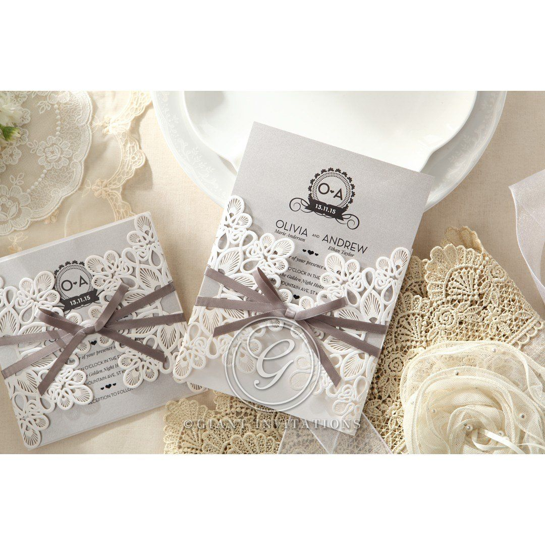 Silver/Gray Elagant Laser Cut Wrap - Wedding invitation - 40 ...