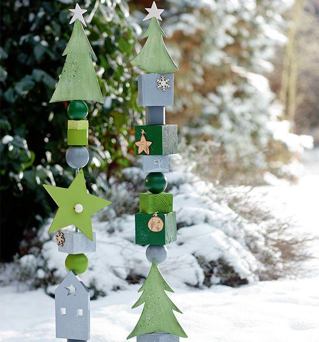 winter weihnachtliche holzstelen als h bsche dekorationen zum basteln und verschenken. Black Bedroom Furniture Sets. Home Design Ideas