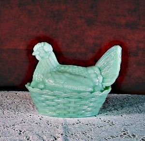 jadeite depression glass | Jadeite Depression Kitchen Glass Small Hen on Nest | eBay