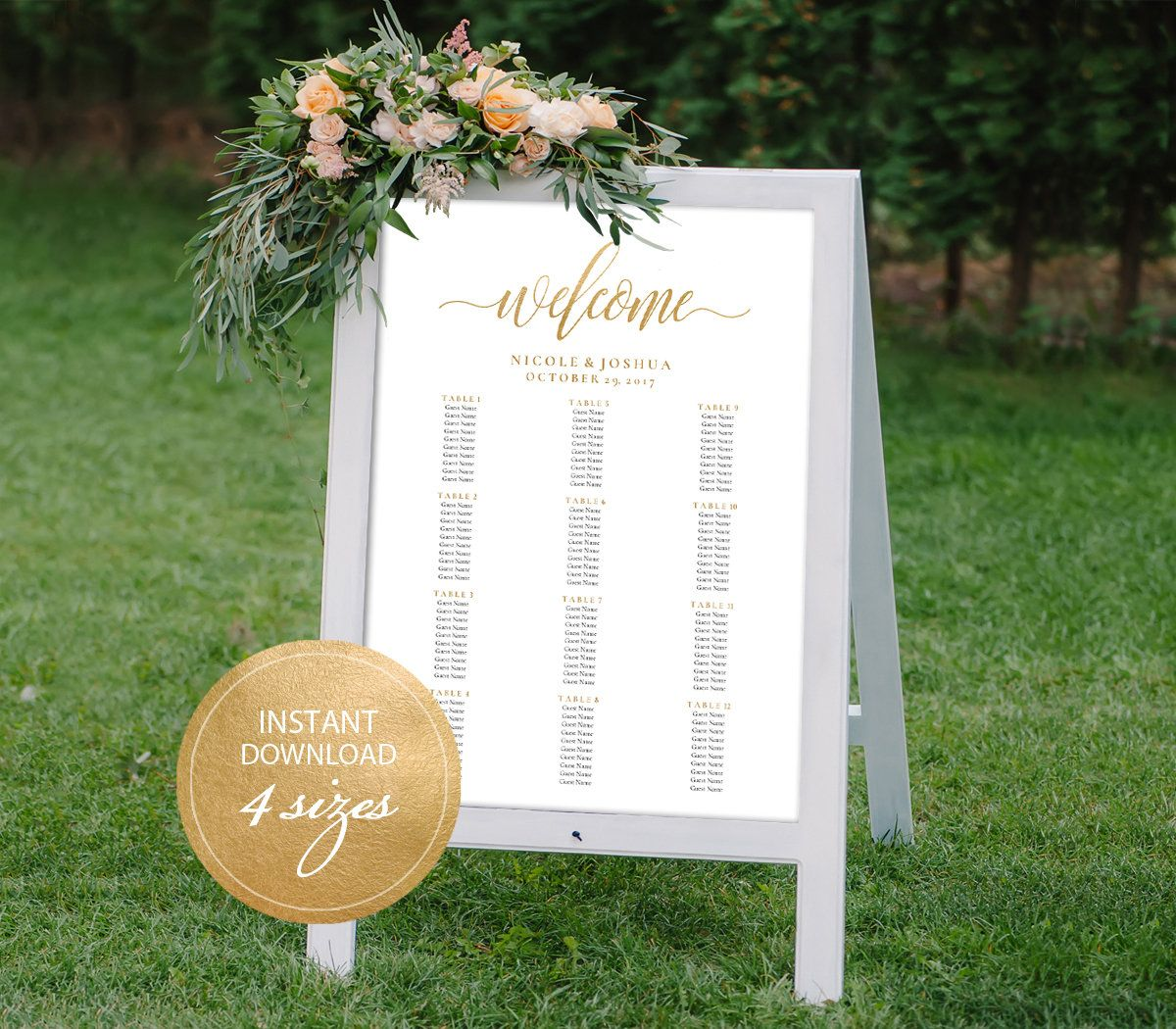 Editable PDF Seating Chart Gold Color Wedding Seating Chart Template ...