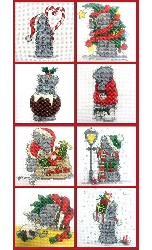 Set Of 4 Mini Tatty Teddy Christmas Cross Stitch Kits set 2