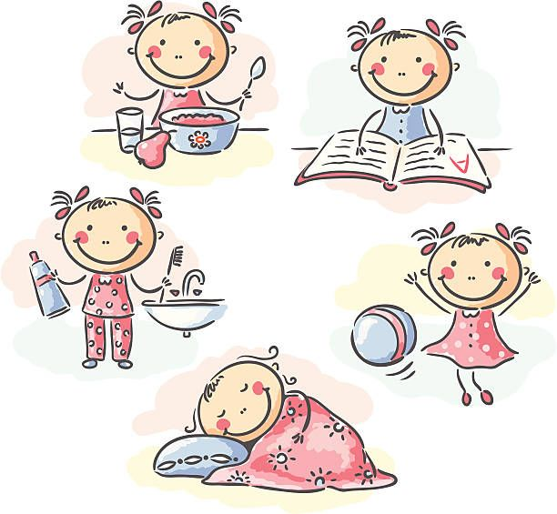 Daily Activities Of A Little Girl No Gradients Strokes And