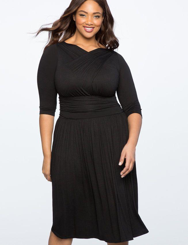 Cross Front Ruched Dress Womens Plus Size Dresses Full Figure